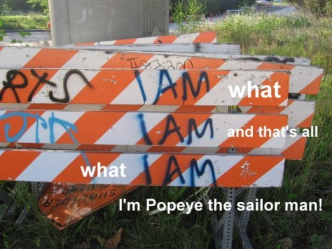 I am what I am and that's all what I am, I'm Popeye the sailor man!