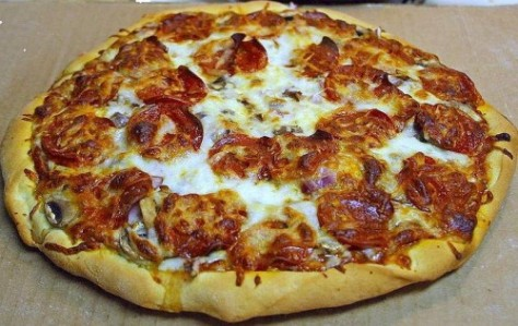 You might eat this large pepperoni pizza in five minutes.