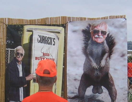 Old man selects nasty poster for the retirement home.